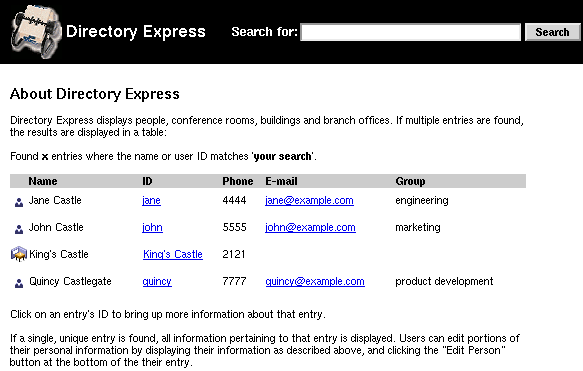 Directory Express Main Window