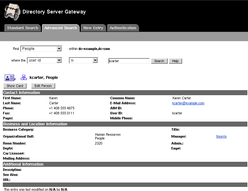 Directory Gateway Search & User