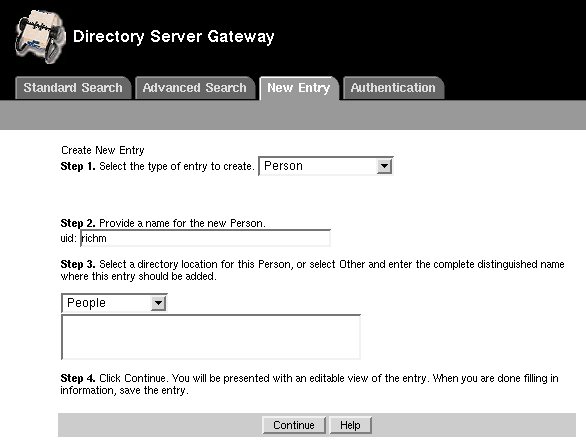 Directory Gateway New User 1